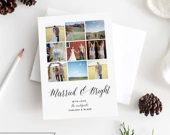 Custom Photo Holiday Card | DIY Printable or Printed | Happy Holidays | Merry Christmas Card | Married Christmas Watercolor | 5x7 | #712