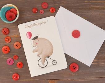 Graduation Card with bear original illustration