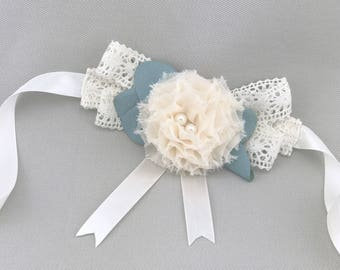 Ivory and Green Wedding Flower Wreath Dog Collar with Crochet Lace and Pearls Satin Ribbon