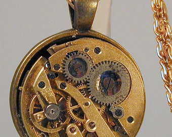 Steampunk Vintage Watch Movement Pendant with Chain OOAK #22