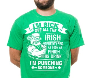 Irish Stereotype T-Shirt Funny Irish Shenanigans Shamrock Drinking Party Irish Pub Shirt