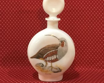 Mountain Quail Decanter~J W Dant Field Bird Whiskey Decanter~1969 No. 4 Milk Glass Decanter Series~Collectible Liquor Bottle~Vintage Barware