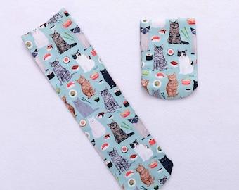 Cat socks.Sushi socks.socks.Balck cat socks.White cat socks