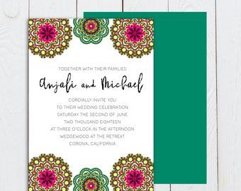 Ornate wedding invitation, Indian ornate wedding invitation, Hindu wedding invitation suite, teal and pink wedding invitation