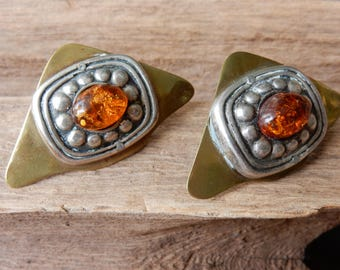 Arts and Craft Clip Earrings. Vintage Earrings. Amber and Brass. Unique Jewelry. FREE SHIPPING.