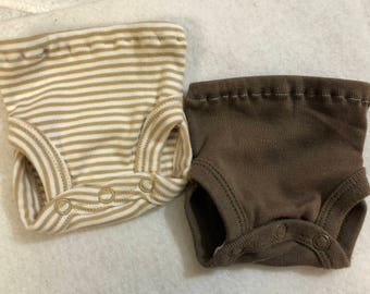Baby Doll Diaper Covers, Panty, 15 inch AG Bitty Baby Clothes, Fits 16 inch Cabbage Patch Doll, SET of 2 for 3.00, Beige Stripes & Brown
