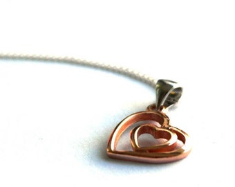 Two heart necklace - Double heart Pendant - Rose Gold Heart Pendant - Gold necklace - Girlfriend Gift - Gift for mother - Gift for Wife