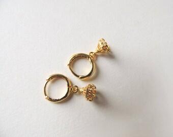 Tiny Golden Hoops Chandelier Bell  Earrings