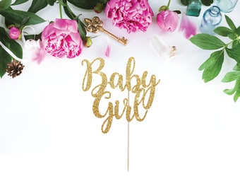 Baby Girl Cake Topper, Baby Shower Cake Topper, Girl Baby Shower Cake Topper, It's a Girl Cake Topper, Baby Girl, Gold Cake Topper, Gender