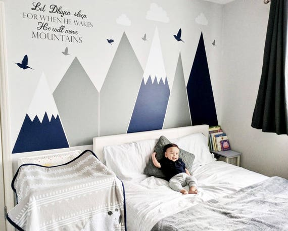 Mountains Wall Decal Let Him Sleep Quote Wall Covering Woodland Clouds Customized Personalized Washable Headboard Sticker Nursery Decor