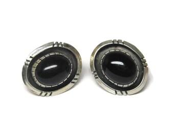 Vintage Sterling Navajo Black Jet Earrings