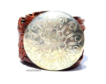 Vintage Belt Brown Leather Moroccan Woven Braided Belt Hippie Boho Hip Belt Medallion Disc Morocco