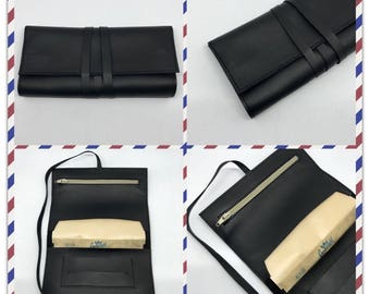 Tobacco holders with pocket and zipper real leather hand made black MR
