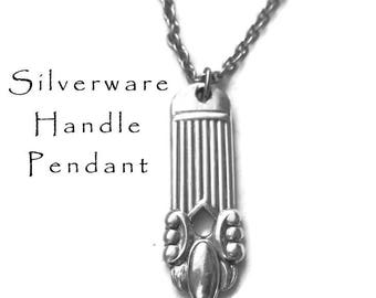 Silverware Pendant, Vintage Spoon Handle Jewelry Gifts Under 25 Bridesmaid Gift Recycled Vintage Flatware Jewelry Stainless Steel Chain