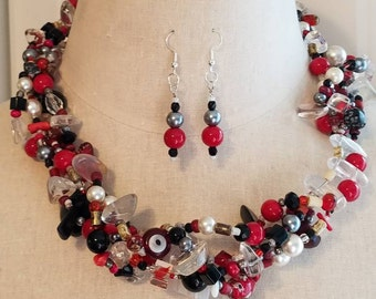 Multistrand red and black beaded necklace and earring set, statement necklace, crystal necklace, lampwork glass beaded necklace