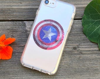 American Hero Cosmic Phone Case for iPhone 5, SE, 6, 6 Plus, 7, 7Plus, 8, 8 Plus and X. TPU or Wood Options