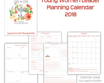 2018 Young Women Leader Planning Calendar 2018 Mutual Theme FLOWERS LDS YW Leadership Peace in Me