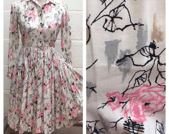 1950's Shirtwaist Abstract Floral Rose Print Dress with Pockets - Midcentury - VLV  - Size S