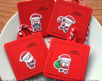 Christmas gift tags // Merry Christmas tags // treat tags // Santa tags // small tags for gifts // set of 4 gift tags // handstamped tags