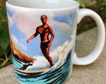 Vintage Waikiki Surf Scene Coffee Mug, Duke Kahanamoku Surfing Coffee Mug, Hawaiiana Surf Mug, Koniakowsky Coffee Cup, Surf Art Mug, Tea Cup