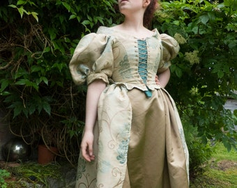 Fairy Tale Princess Gold Floral Dress Inspired by 18th Century Fashion.