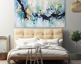 NEW: LARGE Abstract Painting - Original Abstract Art, Acrylic and Oil Painting on Canvas, Extra Large Canvas Art Ready To Hang Painting