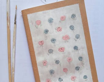 notebook-hand painted-romantic-gift-flowers
