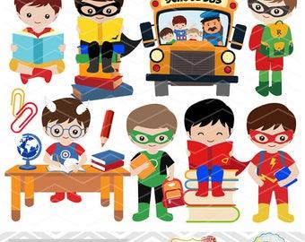 Instant Download Superhero Clip Art, School Day Clipart, Superhero Boy Clipart, Back to School Clip Art, School Boy Clip Art 0245
