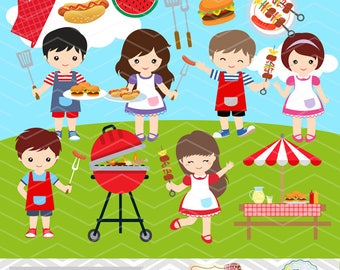 Instant download BBQ Clipart, Boys Barbecue Clip Art, Girls BBQ Clipart, Digital Summer Barbecue Kid Clipart, Digital Picnic Clip Art 0248