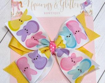 Marshmellow Bunny Bow, Easter Hair Bow, Yellow Pink Purple Bunny Hair Bow, Easter Outfit, Peep Hair Bow, Unicorn N Glitter Bows