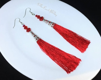 Bright Red Satin Tassel Earrings featuring Swarovski LT Siam Crystals and Silver plated Filigree Cones ~ medium length