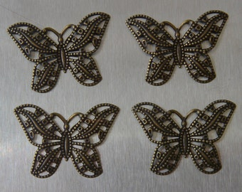 30mm x 25mm Butterfly Filigree Antique Bronze finish.  4pcs/pkg only 1.75