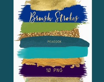 Brush Strokes Clip Art. Peacock. Deep purple, blue, gold, green, glitter, palette. Watercolor clipart. Digital Design Resource.