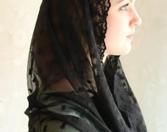 Evintage Veils~ Stella Maris Black OR Cream White OR Black Lace Chapel Veil Mantilla Infinity Latin Mass