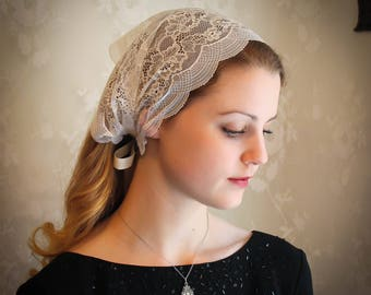 Evintage Veils~ So Soft Headwrap Embroidered Light Ivory Stretch Lace Headband Kerchief Tie-style Head Covering Church Veil