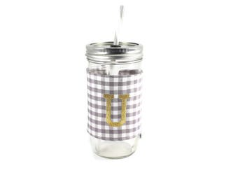 Gray and White Gingham Mason Jar Tumbler, Monogrammed Tumbler, Gingham Monogram Tumbler, Mason Jar Gingham Tumbler,Unique Gift,Personalized