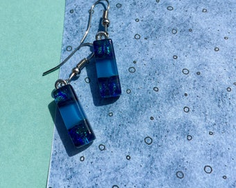 Fused Glass Earrings in Cool Dichroic