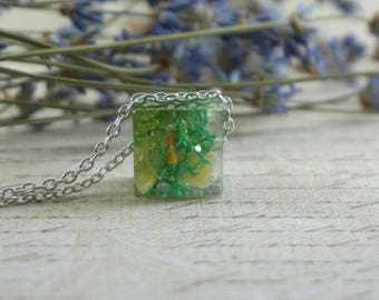 Mother Gift Citrine necklace Turquoise necklace Dainty necklace moss Birthday Gift|For|Friend Nature pendant Tiny necklace Fairy gift