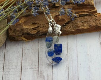 Drop necklace Lapis lazuli Birthday Gift|For|Her necklace Dainty necklace Blue necklace Gift|For|Mom from daughter Birthstone necklace