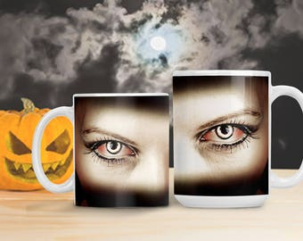Vampire Eyes Halloween Mug, Scary Halloween Cup, Monster Eyes Decor, Vampire Eyes Decoration, Halloween Spooky Mug Cup, Special Effects Lens