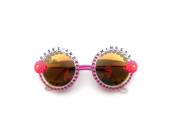 """Cherub """"Doses and Mimosas"""" decorated sunglasses, groovy round sunglasses decorated with song lyrics, funky festival sunnies"""