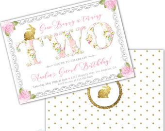 Some Bunny Birthday Invitation, Some Bunny is Two, Girl's 2nd Birthday Party Invites, Bunny Themed Invitation, Shabby Chic, Floral, Gold
