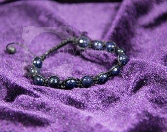 Blue Goldstone Shamballa Bracelet, Blue Sandstone Shamballa Bracelet