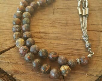 10 mm Black and White Jasper, 10 mm Brown Cold Mountain picture Jasper Worry beads, Prayer Beads, Komboloi, Gift for Him, Rosary, rozenkranz