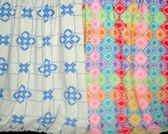 """Swedish Weave Designs Afghan Creations 1 by Katherine Kennedy  """"Hugs & Kisses"""" and """"Patchwork"""" Huck Embroidery on Monk's Cloth *Home Decor*"""