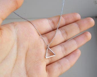 Tiny Silver Triangle Necklace - Thin Dainty Minimal Chain Geometric Necklace - Simple Minimalist Geo Necklace - Short Necklace or Choker