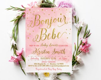 Sucres petit bebe french baby shower invitation pink bonjour bebe shower invitation pink bonjour bebe baby shower invitations french baby shower filmwisefo