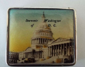 Vintage 1930's Chrome & Celluloid Washington DC Powder Compact Rouge And Powder Compact Art Deco Compact