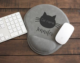 Mouse Pad, Fur Mama, Cat, Kitty, Custom Cat Mouse Pad, Engraved Cat Mouse Pad, Cat Desk Accessories, Personalized Gift, MP105