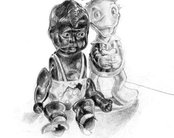 Drawing of Old toys rather the worse for wear!